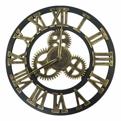 "Industrial Retro Wall Clock Large 12"" 16 inch Round 3D Gear Roman Numeral Decor"