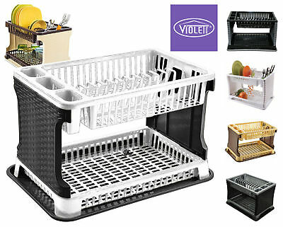 2tier Dish Drainer Cutlery Plates Bowls Holder Kitchen Rack IN 3COLOR Raddan
