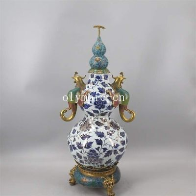 29''chinese blue and white porcelain copper cloisonne enamel painting gold gourd