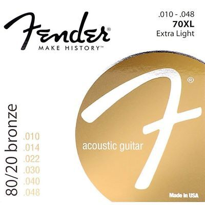 Fender 70XL 80/20 Bronze Extra Light Acoustic Guitar Strings (10-48)  #ONE