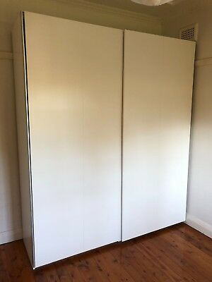 Ikea White Large Double Sliding Door Free Standing Wardrobe