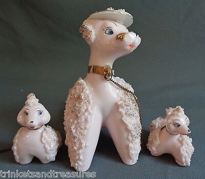 Ceramic Spaghetti Poodle Chained Set Pink Mom w Bonnet Babies Gold Accents Lot 2
