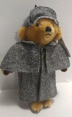 "Merrythought Mohair Teddy Bear Sherlock Holmes 12"" Harrods UK Made in England"