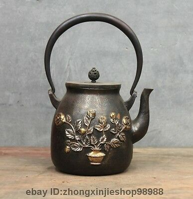 "9.5""Archaic Japan Iron Silver Gilt Rose Bonsai Butterfly Flagon Kettle Tea Pot"