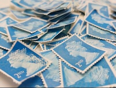 50 x 2nd class unfranked stamps off paper FV 29.00 no glue Royal Mail TMNP
