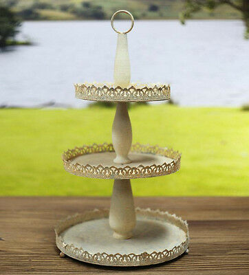 Three Tier Cake Stand Rusted Metal French Provincial Home Decor Cupcake 55cms