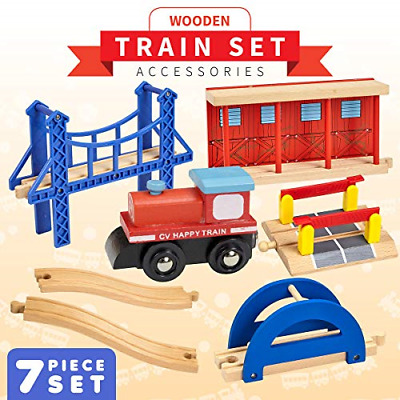 Dragon Drew 7 Piece Wooden Train Accessory Set – Includes Train Car, Station and