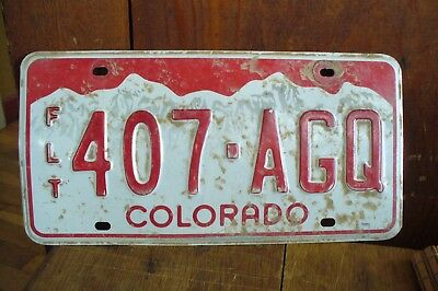 Used Colorado  License Plate ****expired* 407-Agq   Red White Mountains