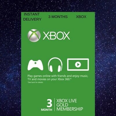 3 MONTH XBOX LIVE GOLD MEMBERSHIP MICROSOFT FAST and DIGITAL XBOX 360 / XBOX ONE