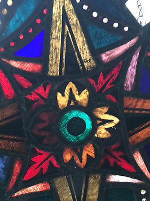Antique Leaded Church Window Stained Glass Star Flower Cross #2