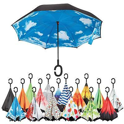 Inverted Umbrella,Windproof Reverse for Women UV Protection,Upside Down C Handle
