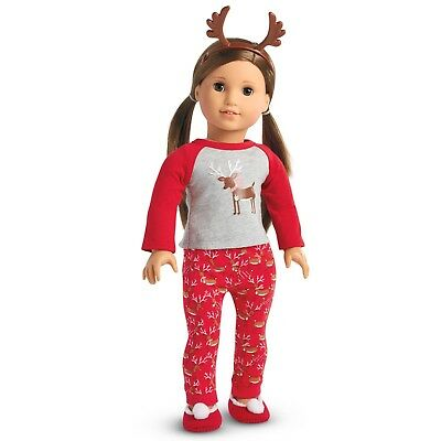 American Girl Festive Reindeer Pjs Pajamas Set New In Box NO DOLL