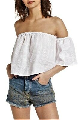 f328f7ff519ec4 SOCIALITE Nordstrom Off the Shoulder Crop Top White Women s Size L Large New