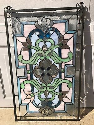 """Window Panel  27 1/2X 16"""" Tiffany Style LEADED Stained Glass Beveled, Cabochon"""