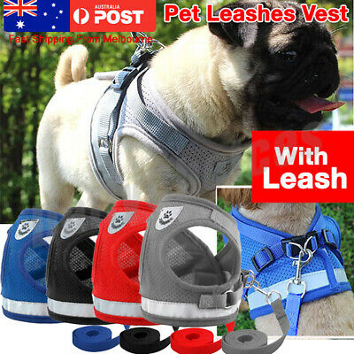 Reflective Dog Harness Leash Nylon Pet Cat Soft Mesh Vest Small Medium Puppy