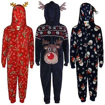 Kids Girls Boys Reindeer Rudolph Santa Claus Fluffy Xmas A2Z Onesie One Piece