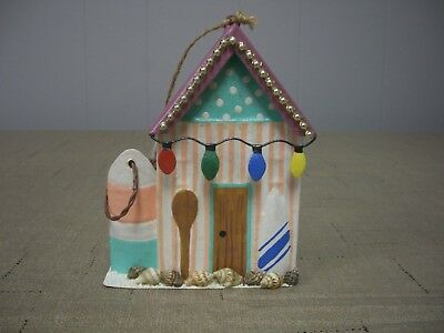 Tropical Boat House Surf Pool Beach Shower Changing Room XMas Ornament NWT