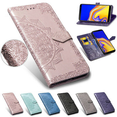 For Samsung Galaxy J4 J6 Plus Magnetic Painted Leather Case Flip Wallet Cover
