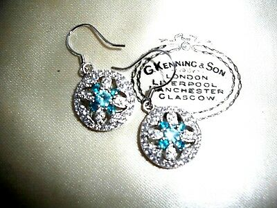 Exquisite Blue Topaz & White Topaz  Earrings  ~  Sterling Silver 925 ~ Beautiful