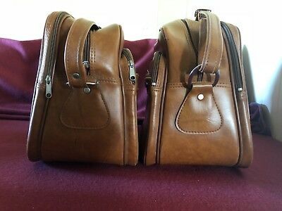 Matching Pair Retro Vintage Cabin Bags Luggage Vinyl 1970's