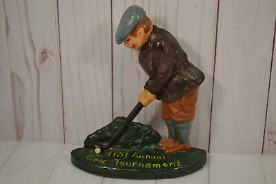 ITSI Annual Golf Tournament Cast Iron Golfer Door Stop & or Book Stop for Shelf