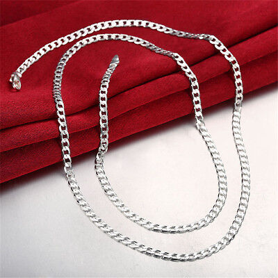 Stunning 925 Sterling Silver Filled 4MM Classic Curb Necklace Chain Wholesale MN