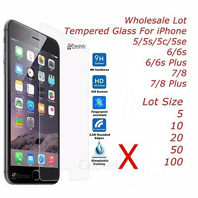 Lot 10X 20X 50X 100X Tempered Glass Screen Protector for iPhone 8 7 6 5 Plus