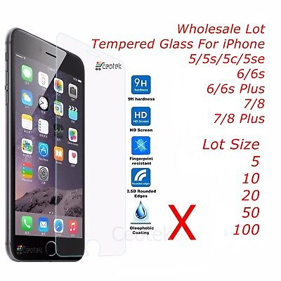 Wholesale Lot X 10/20/50 Tempered Glass Screen Protector for iPhone 8 7 6 5 Plus