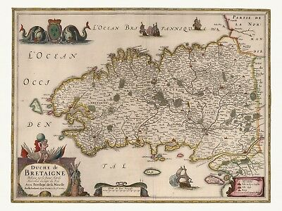 Old Antique Decorative Map of Brittany France de Wit ca. 1682