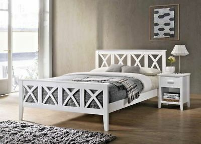 New Vintage White Wooden Frame Bed in 4'6ft Double & 5ft King Size, Wood Bed