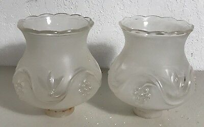 Antique pair frosted glass Art Deco electric table lamp shades