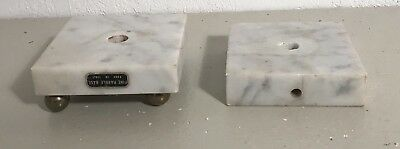 Antique non matching pair marble brass footed electric table lamp base