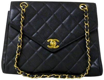 Chanel Classic Flap Quilted Caviar Pointed Black Leather Shoulder Bag 228308 8d5ac615368c8