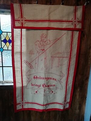"""Vintage Hand Embroidered Hanging German 'tidiness Pays Off' Red On Linen 32""""x52"""""""