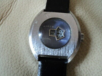 Vintage Rare Unisex Adrem Jump Hour Swiss Made Watch Not working