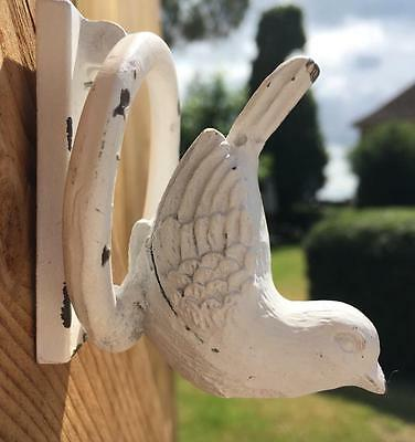 Shabby Chic Ivory Bird Door Knocker, Cast Iron, Vintage French Country Style