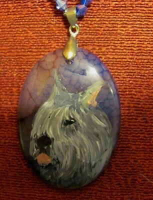 Bouvier des Flandres hand painted on oval gemstone pendant/bead/necklace
