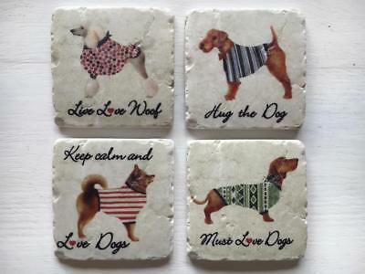 Chunky Tile Coasters set 4 Shabby Chic DOGS Poodle Dachshund FoxTerrier Elkhound