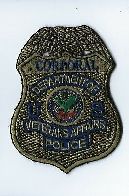 Dept. of Veterans Affairs VA Police CORPORAL subdued badge-style patch - NEW!