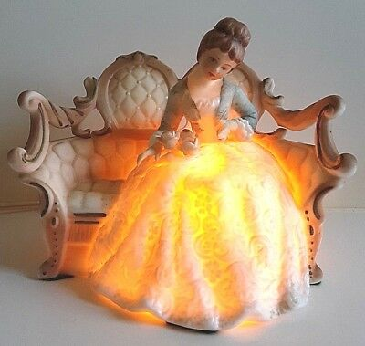 Vintage Lady On French Provincial Settee Vanity Lamp Night Light Electric Lamp
