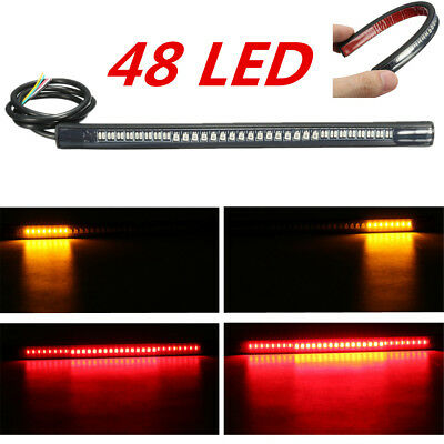 Motorcycle 48 LED SMD Bar Light Strip Rear Tail Brake Stop Signal Cafe Racer
