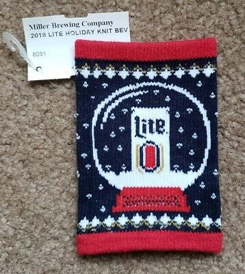 New 2018 Miller Lite Ugly Sweater Beer Can Koozie Wrap Holiday Christmas