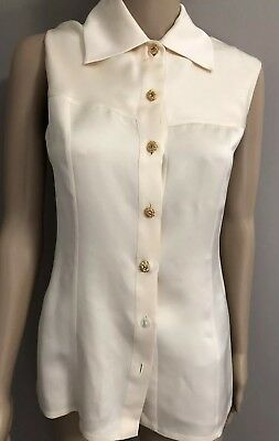 092c1caf46353 Gorgeous Sleeveless Cream Silk blouse with gold flower buttons by CHANEL sz  6