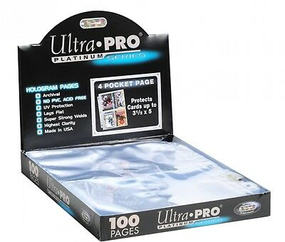 100 Ultra Pro PLATINUM 4 POCKET 3 1/2 x 5 1/4 Photo Postcard Pages