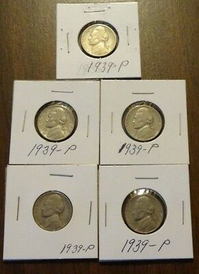 Nice Lot of FIVE (5) 1939 P Jefferson Nickels 5c Coins 39 P 2nd Year