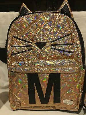 NWT Justice Gold Cat Quilted Style-Letter ~M ~Backpack