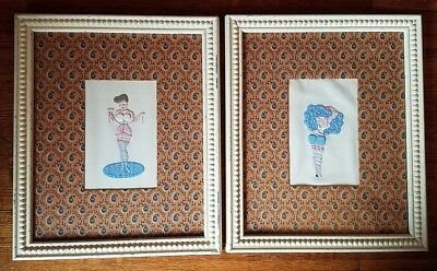 Vtg FRAME ART APPLIQUE EMBROIDERY Burlesque Pin Up Nude Quilted Shabby Chic