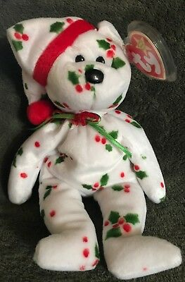 """TY Beanie Baby 1998 HOLIDAY TEDDY The Christmas Teddy 8.5"""" MWMT Vintage Toy"""