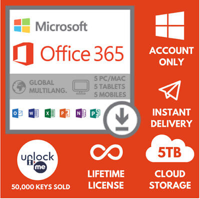 INSTANT Microsoft Office 365 2016 Pro LIFETIME Subscription 5 Devices 5TB