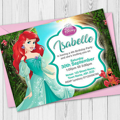 Personalised Disney Princess Birthday Party Invitations